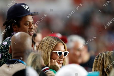 Stock Image of Entertainers Jay-Z and Beyoncé are seen during the NFL Super Bowl 54 football game between the San Francisco 49ers and Kansas City Chiefs, in Miami Gardens, Fla. The Kansas City Chiefs won 31-20
