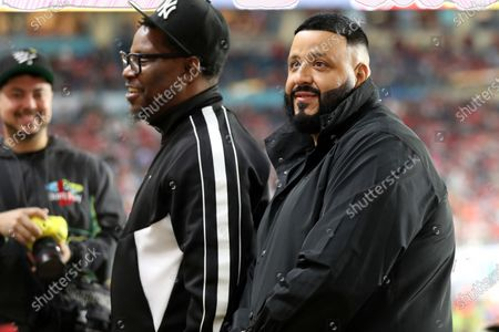 Musician and producer DJ Khaled is seen during the NFL Super Bowl 54 football game between the San Francisco 49ers and Kansas City Chiefs, in Miami Gardens, Fla. The Kansas City Chiefs won 31-20