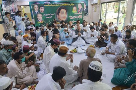 Supporters of Pakistan Muslim League (N) gathered in main office and offering prayer during 2nd death anniversary of PML (N) leader Late Kulsoom Nawaz Sharif wife of former prime minister of Pakistan Mian Nawaz Sharif in provincial capital city Lahore.