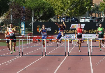 Oriol Piqueras Arago, Iker Alfonso de Miguel, Marc Carbo Feliu, Javier Delgado Osorio, Julen Diaz Fernandez and Carlos Fernandez Iglesias compete in semifinals of 400 meters vence during the 100th Spanish Athletics Championship at Juan de la Cierva Municipal Sports Center on September 12, 2020 in Getafe, Madrid, Spain.