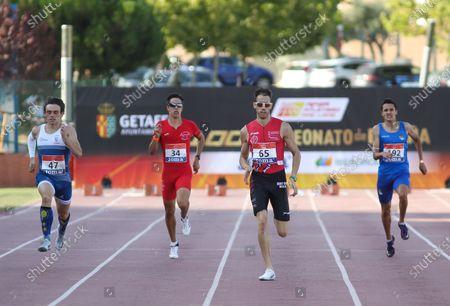 Asier Fernandez Mindegia, Alejandro Gonzalez Rengel, Eliam Fernandez Ortiz de Zarate and Ibai Serrano Ruiz compete in semifinals of 400 meters during the 100th Spanish Athletics Championship at Juan de la Cierva Municipal Sports Center on September 12, 2020 in Getafe, Madrid, Spain.