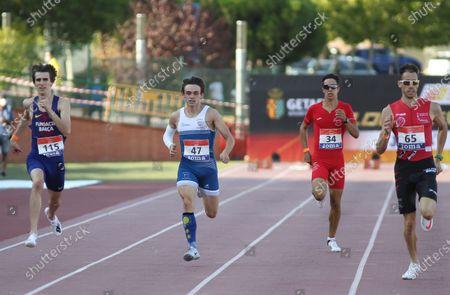 Bernat Erta Majo, Asier Fernandez Mindegia, Alejandro Gonzalez Rengel and Eliam Fernandez Ortiz de Zarate compete in semifinals of 400 meters during the 100th Spanish Athletics Championship at Juan de la Cierva Municipal Sports Center on September 12, 2020 in Getafe, Madrid, Spain.