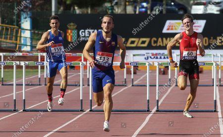 Marc Carbo Feliu, Javier Delgado Osorio and Julen Diaz Fernandez compete in semifinals of 400 meters vence during the 100th Spanish Athletics Championship at Juan de la Cierva Municipal Sports Center on September 12, 2020 in Getafe, Madrid, Spain.