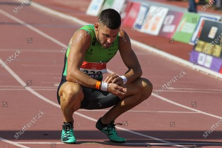 Carlos Fernandez Iglesias competes in semifinals of 400 meters vence during the 100th Spanish Athletics Championship at Juan de la Cierva Municipal Sports Center on September 12, 2020 in Getafe, Madrid, Spain.