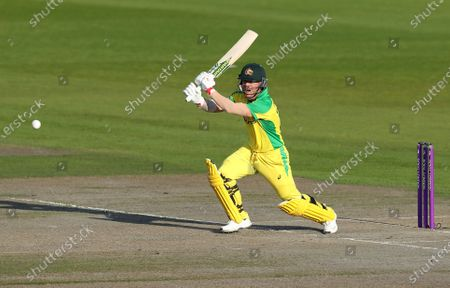 Australia's David Warner bats during the second ODI cricket match between England and Australia, at Old Trafford in Manchester, England