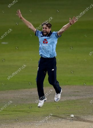 England's Chris Woakes appeals successfully for the wicket of Australia's Marnus Labuschagne during the second ODI cricket match between England and Australia, at Old Trafford in Manchester, England