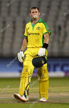 Australia's Marnus Labuschagne walks off the field after being dismissed by England's Chris Woakes during the second ODI cricket match between England and Australia, at Old Trafford in Manchester, England
