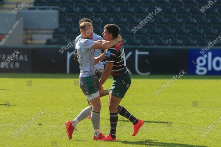 Rory Hutchinson of Northampton Saints and Ben Youngs of Leicester Tigers during the Gallagher Premiership Rugby match between Leicester Tigers and Northampton Saints at Welford Road Stadium, Leicester