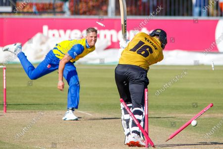 WICKET - Brydon Carse bowls Tom Taylor during the Vitality T20 Blast North Group match between Durham County Cricket Club and Leicestershire Foxes County Cricket Club at the Emirates Durham ICG Ground, Chester-le-Street