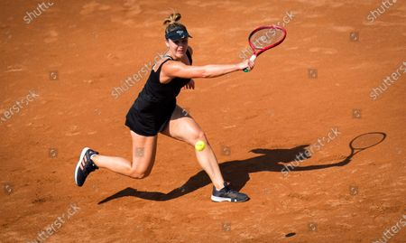 Gabriela Dabrowski of Canada in action during the final qualifying round at the 2020 Internazionali BNL d'Italia WTA Premier 5 tennis tournament
