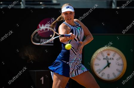 Anna Blinkova of Russia in action during the final qualifying round at the 2020 Internazionali BNL d'Italia WTA Premier 5 tennis tournament
