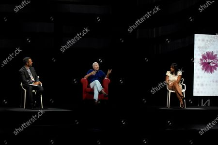"""Milan, """"The time of women"""" In the photo: Piero angela, appears in 3D hologram 5G technology in an interview with Federico Cella and Michela Rovelli"""