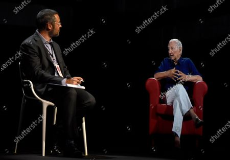 """Milan, """"Women's time"""" In the photo: Piero angela, appears in 3D hologram 5G technology in an interview with Federico Cella"""