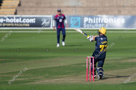 Glamorgan's David Lloyd hammers the ball for a boundary during the Vitality T20 Blast South Group match between Glamorgan County Cricket Club and Northamptonshire County Cricket Club at the SWALEC Stadium, Cardiff