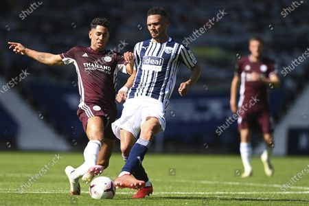 West Bromwich Albion's Kieran Gibbs, right, and Leicester's Ayoze Perez vie for the ball during the English Premier League soccer match between West Bromwich and Leicester City at the Hawthorns in West Bromwich, England, Sunday, Sept.13, 2020
