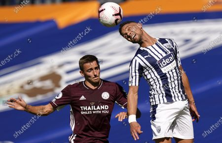 Kieran Gibbs (R) of West Bromwich in action against Timothy Castagne (L) of Leicester during the English Premier League soccer match between West Bromwich Albion and Leicester City in West Bromwich, Britain, 13 September 2020.