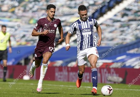 Kieran Gibbs (R) of West Bromwich in action against Ayoze Perez (L) of Leicester during the English Premier League soccer match between West Bromwich Albion and Leicester City in West Bromwich, Britain, 13 September 2020.