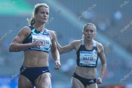 Stock Picture of Dafne Schippers, left, of the Netherlands competes in women 100 meters at the ISTAF Athletics Meeting in Berlin, Germany
