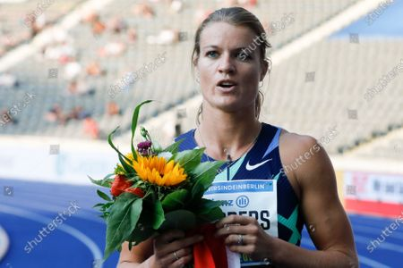 Dafne Schippers of the Netherlands celebrates after winning the women 100 meters at the ISTAF Athletics Meeting in Berlin, Germany