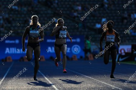 Stock Image of Dafne Schippers, left, of the Netherlands competes in the women 100 meters at the ISTAF Athletics Meeting in Berlin, Germany