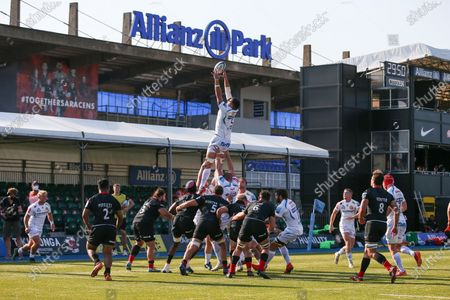 Tom Price of Exeter Chiefs is lifted up during a lineout
