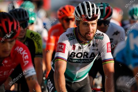 Slovakia's Peter Sagan grimaces as he crosses the finish line of stage 15 of the Tour de France cycling race over 174.5 kilometers (108.4 miles) from Lyon to Grand Colombier pass, France