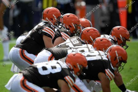 Cleveland Browns quarterback Baker Mayfield (6) and the offense during an NFL football game against the Baltimore Ravens, in Baltimore