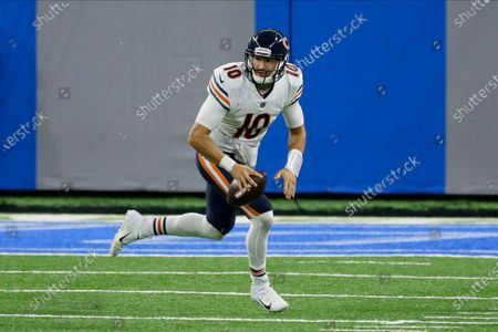Chicago Bears quarterback Mitchell Trubisky (10) rolls out to pass against the Detroit Lions in the second half of an NFL football game in Detroit