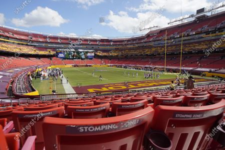 Stock Picture of Seats are empty at Fedex Field during the second half of an NFL football game between the Washington Football Team and Philadelphia Eagles, in Landover, Md