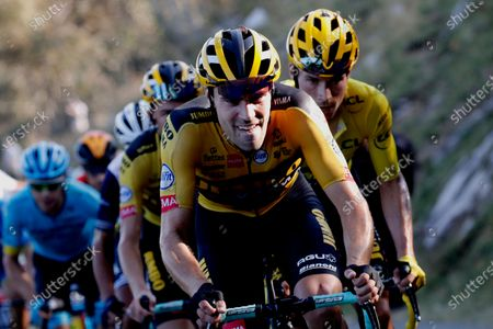 Team Jumbo-Visma riders with Tom Dumoulin Slovenia's Primoz Roglic, wearing the yellow jersey of the overall leader climb Grand Colombier during the stage 15 of the Tour de France cycling race over 174 kilometers (108 miles), with start in Lyon and finish in Grand Colombier