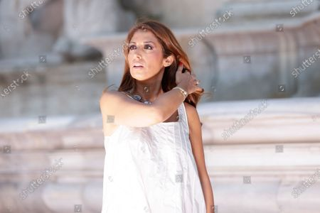 Stock Image of Designer Lavinia Biagiotti arrives for the Laura Biagiotti spring-summer 2021/22 collection, unveiled in Rome's Piazza del Campidoglio city council square