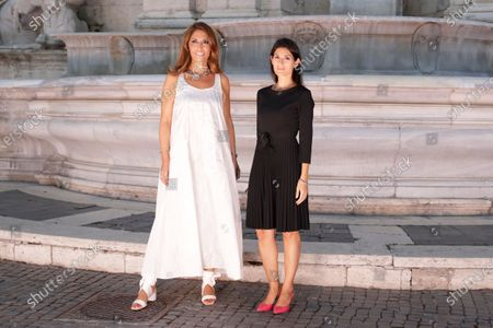 Stock Picture of Designer Lavinia Biagiotti and Rome Mayor Virginia Raggi, right, pose prior to the Laura Biagiotti spring-summer 2021/22 collection, unveiled in Rome's Piazza del Campidoglio city council square