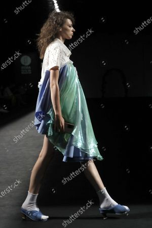 A model presents a creation by designer Robert Rodriguez as part of the young talents of Samsung Ego show during the 72nd Mercedes-Benz Fashion Madrid, in Madrid, Spain, 13 September 2020. The MBFWMadrid runs from 10 to 13 September 2020 under security measures due to the ongoing pandemic of the COVID-19 disease caused by the SARS-CoV-2 coronavirus.