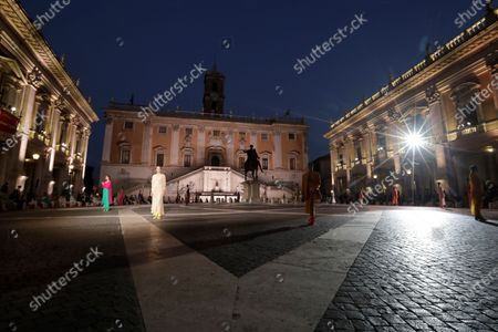 Model wears a creation part of Italian fashion designer Laura Biagiotti's spring-summer 2021/22 collection, unveiled in Rome's Piazza del Campidoglio city council square