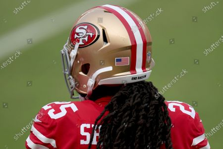 Stock Picture of San Francisco 49ers' Richard Sherman (25) stands on the sidelines during an NFL football game against the Arizona Cardinals, in Santa Clara, Calif