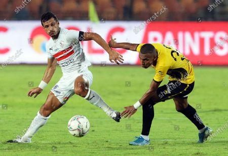 Zamalek's Tarek Hamed (L) in action against El Entag El Harby's Abdel Hamid Sheka (R) during the Egyptian Premier League soccer match between Zamalek SC and El Entag El Harby SC in Cairo, Egypt, 13 September 2020.