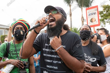Joseph Williams of Black Lives Matter Los Angeles speaks at a solidarity protest for Dijon Kizzee after he is killed by the Los Angeles County Sheriff's Department