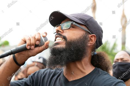 Stock Image of Joseph Williams of Black Lives Matter Los Angeles speaks at a solidarity protest for Dijon Kizzee after he is killed by the Los Angeles County Sheriff's Department