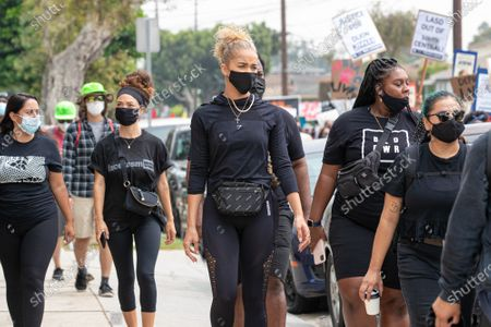 Jasmine Sanders and Ty Bryant attend a solidarity protest for Dijon Kizzee after he is killed by the Los Angeles County Sheriff's Department