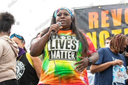 Nafissa Kaba of Black Lives Matter Pasadena speaks at a solidarity protest for Dijon Kizzee after he is killed by the Los Angeles County Sheriff's Department
