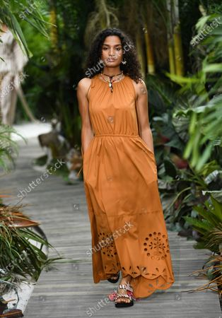 Stock Picture of Actress/model Indya Moore walks the runway during the Jason Wu Spring/Summer 2021 fashion show at Spring Studios during New York Fashion Week, in New York