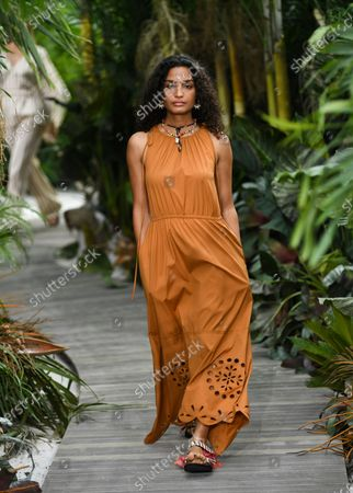 Stock Image of Actress/model Indya Moore walks the runway during the Jason Wu Spring/Summer 2021 fashion show at Spring Studios during New York Fashion Week, in New York