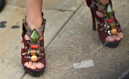 Stock Photo of Leigh Lezark shoe detail at NYFW 2020 street fashion outside Jason Wu