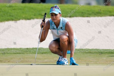 Lexi Thompson in actions during the final round of the LPGA's ANA Inspiration golf tournament at Mission Hills Country Club in Rancho Mirage, Calif