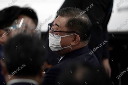 Former Defense Minister Shigeru Ishiba attends the Liberal Democratic Party's (LDP) leadership election, in Tokyo. The ruling LDP chooses its new leader in an internal vote to pick a successor to Prime Minister Shinzo Abe, who announced his intention to resign last month due to illness
