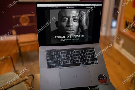 "Stock Photo of Edward Enninful photo illustration viewed on a laptop during the ""Black is the New Black"" Style Awards and Fashion Show"