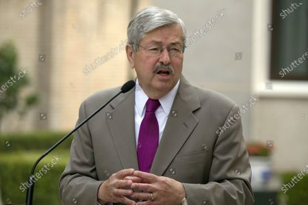Ambassador to China Terry Branstad makes comments about pro-democracy activist and Nobel Laureate Liu Xiaobo during a photocall and remarks to journalists at the Ambassador's residence in Beijing. Branstad appears to be leaving his post, based on tweets by Secretary of State Mike Pompeo. Pompeo thanked Branstad for more than three years of service on Twitter on