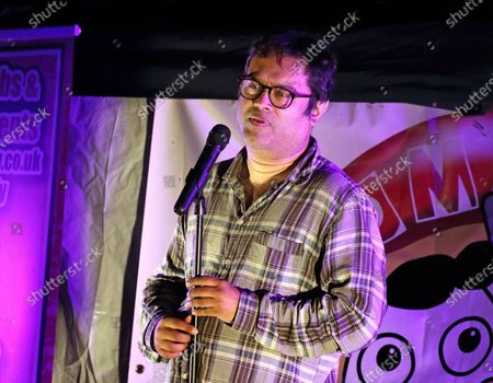 Stock Photo of Paul Sinha performs a live socially distanced stand up comedy show.