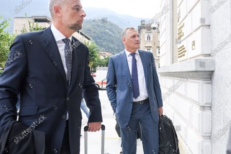 Former Fifa general secretary Jerome Valcke (R) and his lawyers arrive at the Federal Criminal Court in Bellinzona, Switzerland, 14 September 14, 2020. Valcke is accused of qualified disloyalty and incitement, falsification of documents and passive bribery. The Office of the Attorney General of Switzerland opened the proceedings in March 2017.