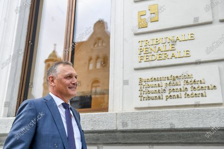 Former Fifa general secretary Jerome Valcke arrives at the Federal Criminal Court in Bellinzona, Switzerland, 14 September 14, 2020. Valcke is accused of qualified disloyalty and incitement, falsification of documents and passive bribery. The Office of the Attorney General of Switzerland opened the proceedings in March 2017.